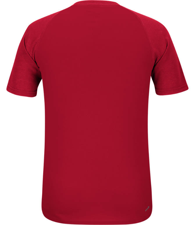 Back view of Men's adidas Louisville Cardinals College Dassler City T-Shirt in Red
