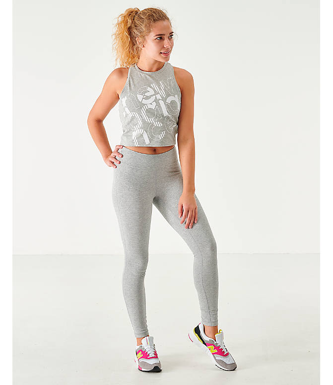 Front Three Quarter view of Women's New Balance NB Athletics Leggings in Grey