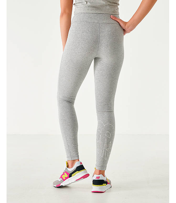 Back Left view of Women's New Balance NB Athletics Leggings in Grey
