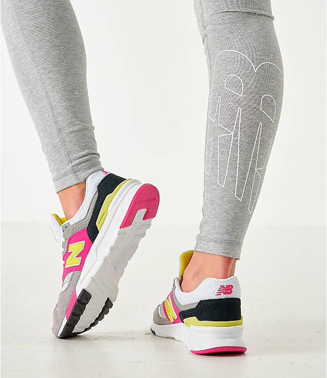 Back Right view of Women's New Balance NB Athletics Leggings in Grey