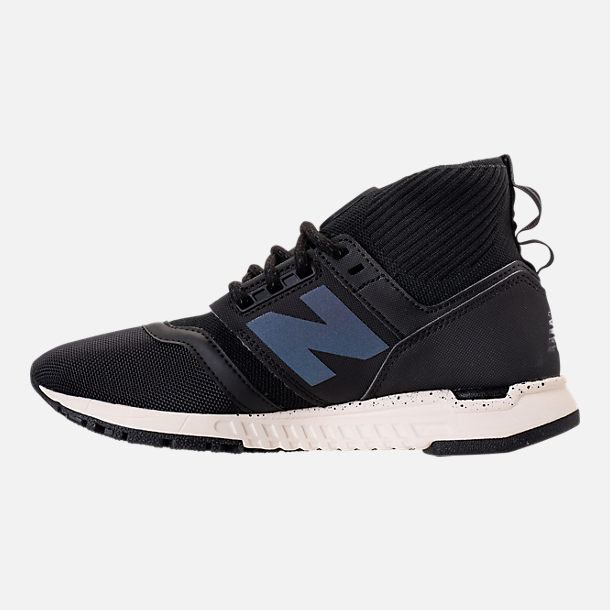 Left view of Women's New Balance 247 Mid-Cut Casual Shoes in Black