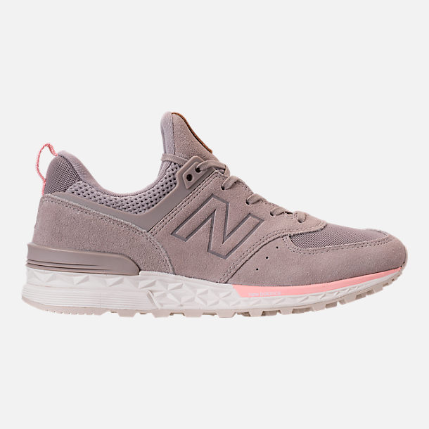Right view of Women s New Balance 574 Sport Casual Shoes in White Himalayan  Pink b26d489c8c50