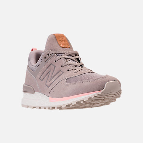 Three Quarter view of Women's New Balance 574 Sport Casual Shoes in White/Himalayan Pink