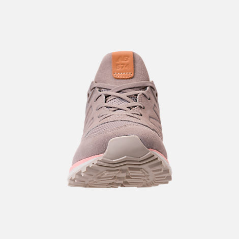 Front view of Women's New Balance 574 Sport Casual Shoes in White/Himalayan Pink