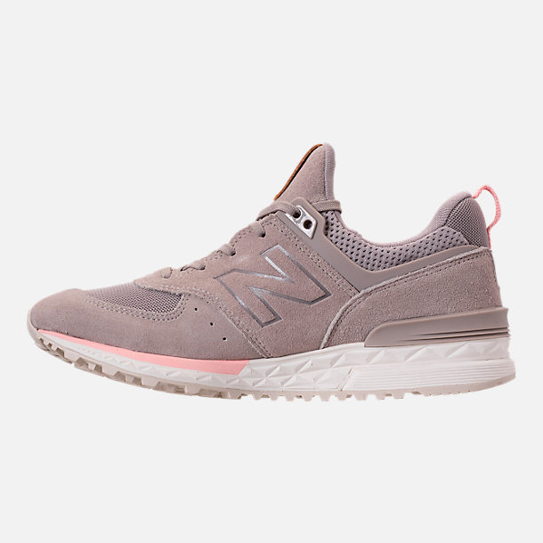 Left view of Women's New Balance 574 Sport Casual Shoes in White/Himalayan Pink