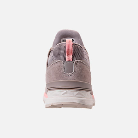 Back view of Women's New Balance 574 Sport Casual Shoes in White/Himalayan Pink