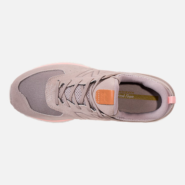 Top view of Women's New Balance 574 Sport Casual Shoes in White/Himalayan Pink