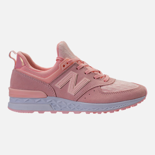 Right view of Women's New Balance 574 Sport Casual Shoes in Sunrise Glo/White