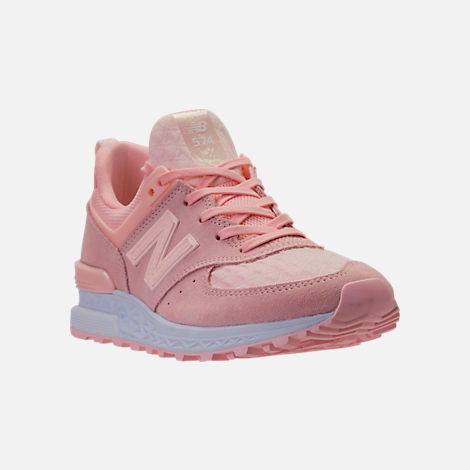 Three Quarter view of Women's New Balance 574 Sport Casual Shoes in Sunrise Glo/White