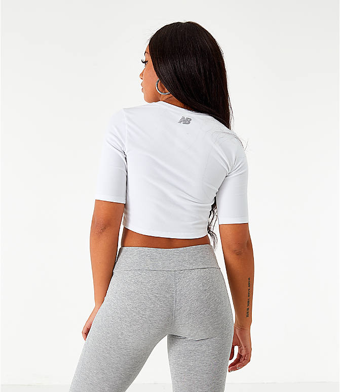 Back Left view of Women's New Balance Relentless Crop T-Shirt in White
