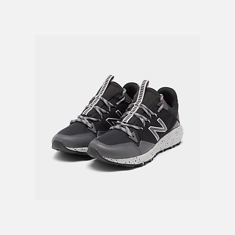 Three Quarter view of Women's New Balance Fresh Foam Crag V1 Trail Running Shoes in Black/Magnet