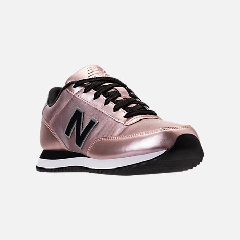 Three Quarter view of Women's New Balance 501 Casual Running Shoes in Champagne Metallic