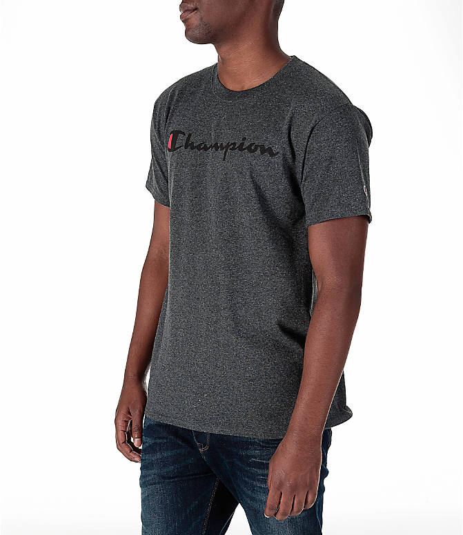 Front Three Quarter view of Men's Champion Graphic T-Shirt in Granite Heather