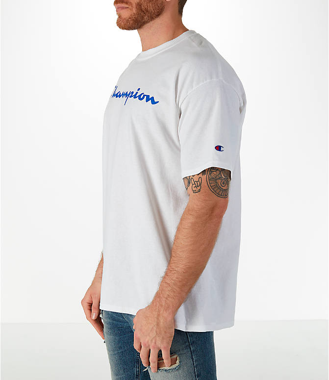 Front Three Quarter view of Men's Champion Graphic T-Shirt in White