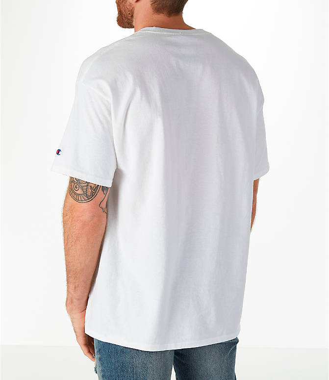 Back Left view of Men's Champion Graphic T-Shirt in White