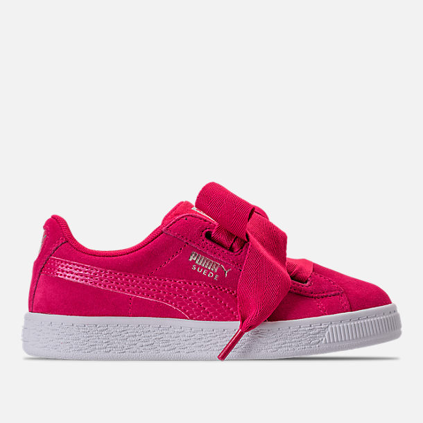 d17be980de9 Right view of Girls  Preschool Puma Suede Heart SNK Casual Shoes in Love  Potion