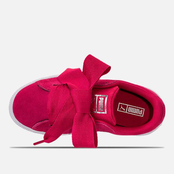 e96e77c04f1 Top view of Girls  Preschool Puma Suede Heart SNK Casual Shoes in Love  Potion