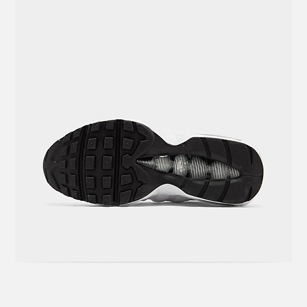 Bottom view of Men's Nike Air Max 95 Running Shoes in White/Black