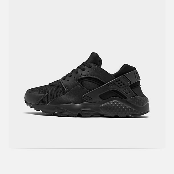 Right view of Boys' Grade School Nike Huarache Run Running Shoes in Black/Black/Black