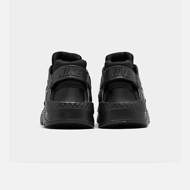 Left view of Boys' Grade School Nike Huarache Run Running Shoes in Black/Black/Black