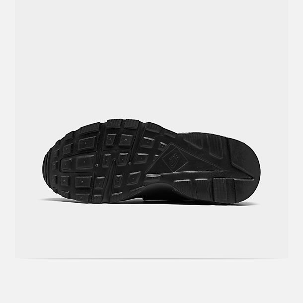 Bottom view of Boys' Grade School Nike Huarache Run Running Shoes in Black/Black/Black