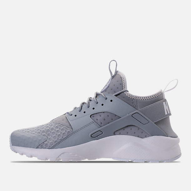 Left view of Men's Nike Air Huarache Run Ultra Casual Shoes in Wolf Grey/Pale Grey/White
