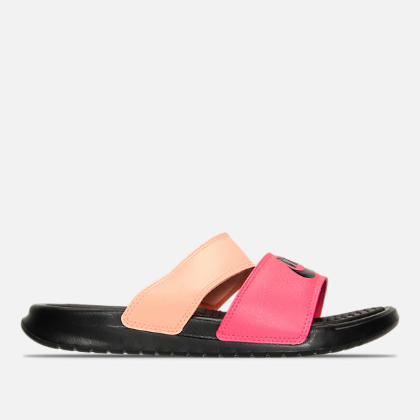 Right view of Women's Nike Benassi Duo Ultra Slide Sandals in Racer Pink/Black/Sunset Glow