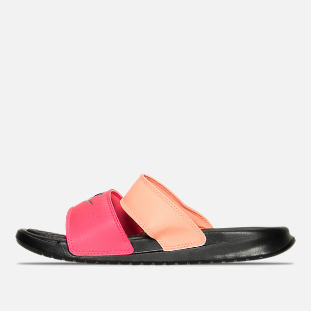 Left view of Women's Nike Benassi Duo Ultra Slide Sandals in Racer Pink/Black/Sunset Glow