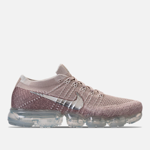 Right view of Women's Nike Air VaporMax Flyknit Running Shoes in String/Chrome/Sunset Glow/Taupe