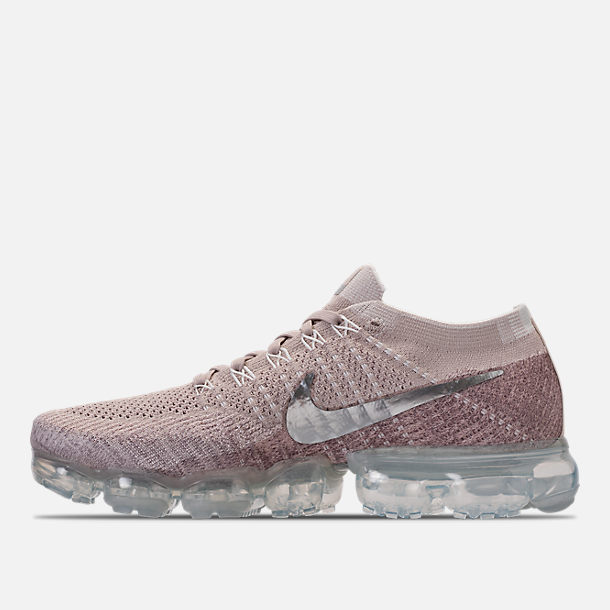 Left view of Women's Nike Air VaporMax Flyknit Running Shoes in String/Chrome/Sunset Glow/Taupe