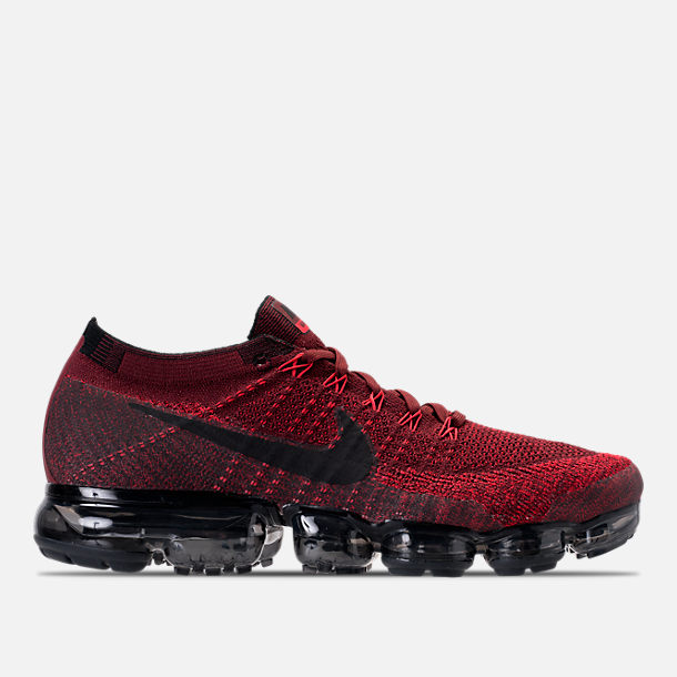 Right view of Men's Nike Air VaporMax Flyknit Running Shoes in Dark Team Red/Black/University Red