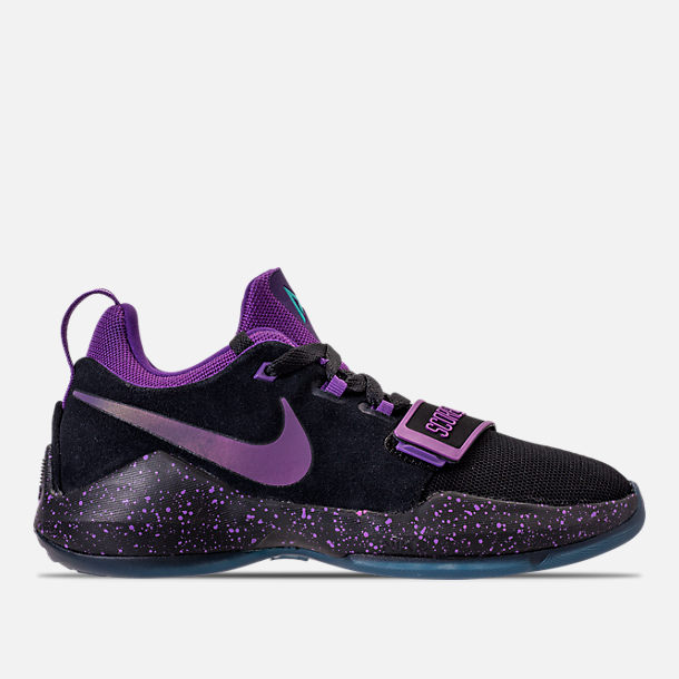 Right view of Boys' Grade School Nike PG 1 Basketball Shoes in Black/Court Purple/Clear Jade