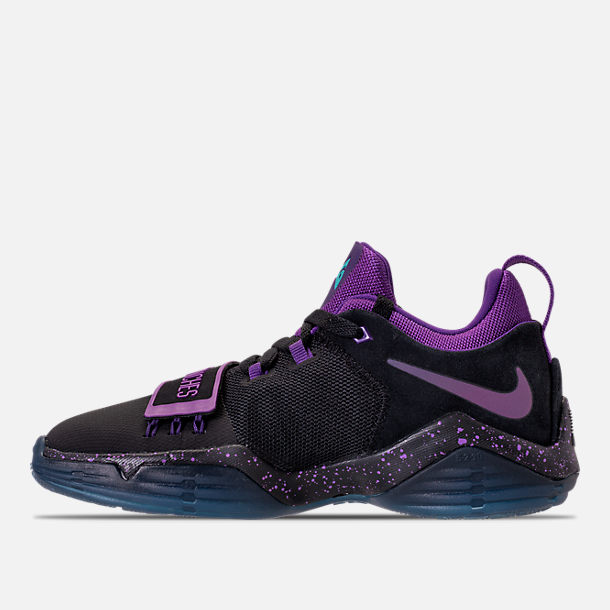 Left view of Boys' Grade School Nike PG 1 Basketball Shoes in Black/Court Purple/Clear Jade