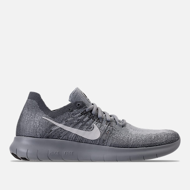 Right view of Women's Nike Free RN Flyknit 2017 Running Shoes in Wolf Grey/White/Anthracite