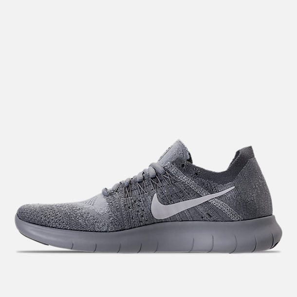 Left view of Women's Nike Free RN Flyknit 2017 Running Shoes in Wolf Grey/White/Anthracite