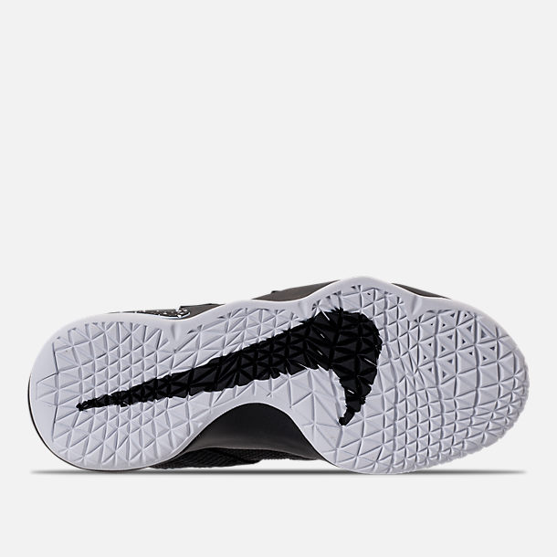 87933f3a475a2 Bottom view of Boys  Preschool Nike LeBron Soldier 11 Basketball Shoes in  Black White