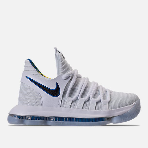 Right view of Boys' Grade School Nike Zoom KDX Basketball Shoes in White/Game Royal/University Gold