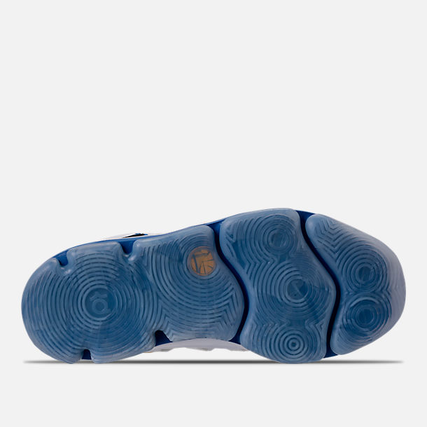 Bottom view of Boys' Preschool Nike KDX Basketball Shoes in White/Game Royal/University Gold