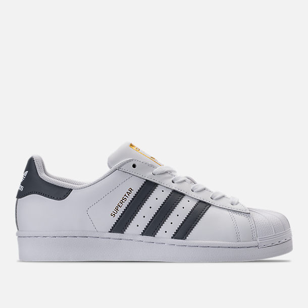 Right view of Women's adidas Superstar Casual Shoes in White/Onyx/Gold Metallic