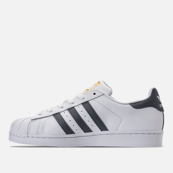Left view of Women's adidas Superstar Casual Shoes in White/Onyx/Gold Metallic