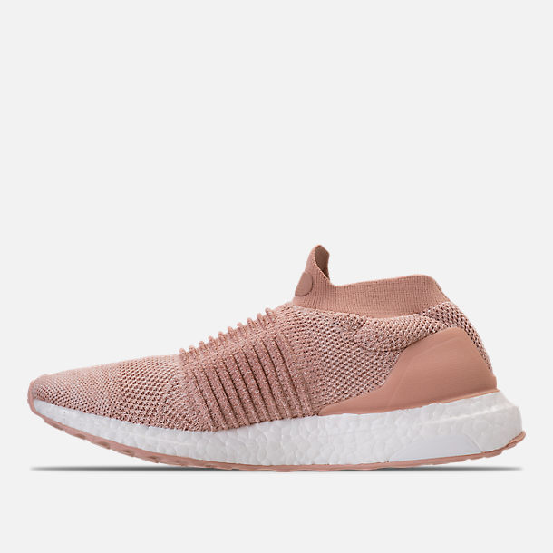 Left view of Women's adidas UltraBOOST Laceless Running Shoes in Ash Pearl/Ash Pearl/Ash Pearl