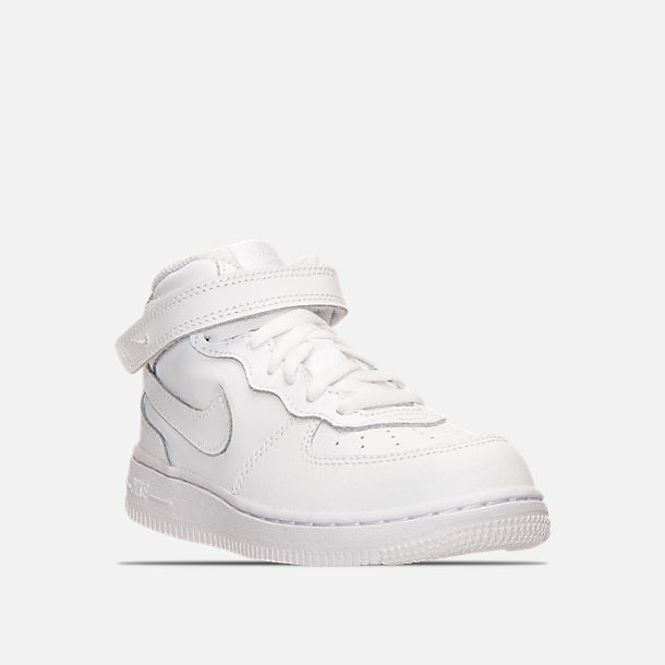 a8c88d5a93 Three Quarter view of Toddler Nike Air Force 1 Mid Basketball Shoes in White