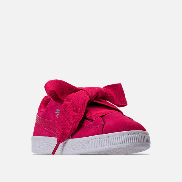 1086e810345 Three Quarter view of Girls  Preschool Puma Suede Heart SNK Casual Shoes in Love  Potion