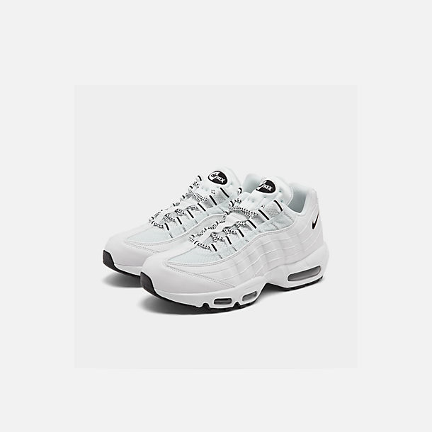 Three Quarter view of Men's Nike Air Max 95 Running Shoes in White/Black