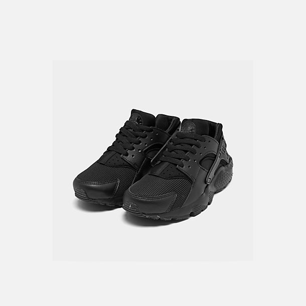 Three Quarter view of Boys' Grade School Nike Huarache Run Running Shoes in Black/Black/Black