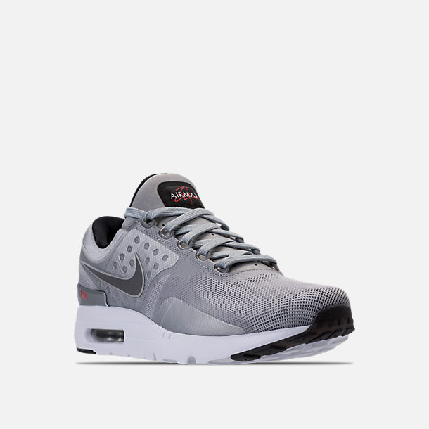 ... Three Quarter view of Mens Nike Air Max Zero Running Shoes in Metallic  SilverVarsity ...