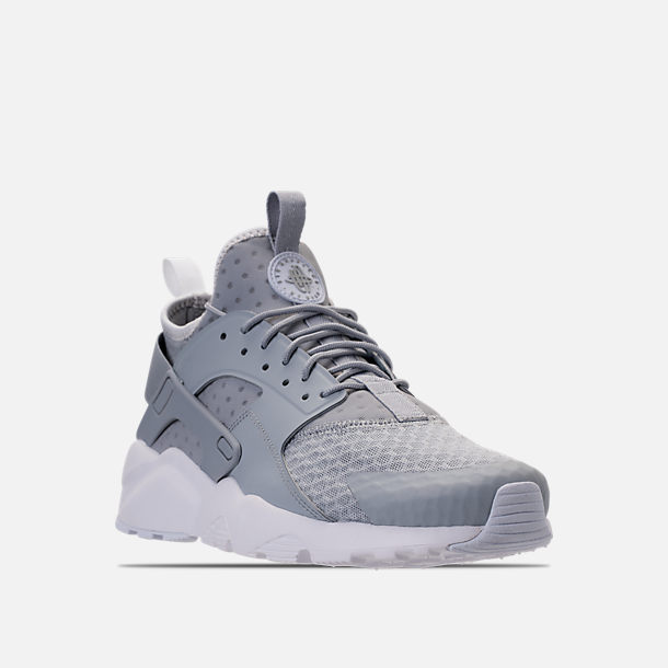 Three Quarter view of Men's Nike Air Huarache Run Ultra Casual Shoes in Wolf Grey/Pale Grey/White