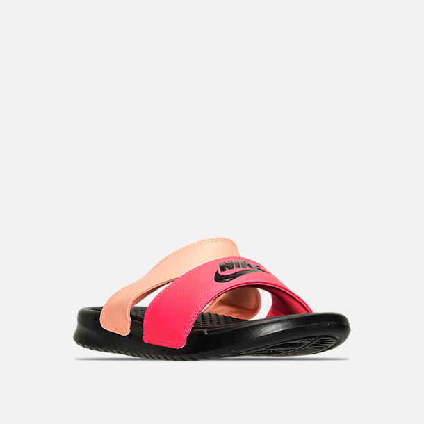 Three Quarter view of Women's Nike Benassi Duo Ultra Slide Sandals in Racer Pink/Black/Sunset Glow