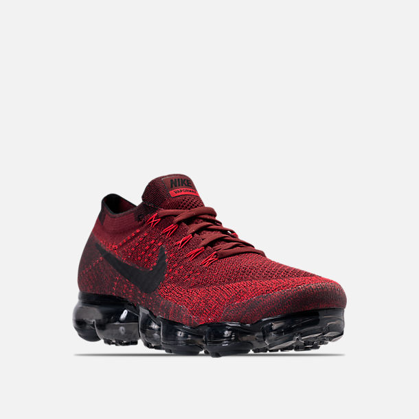 Three Quarter view of Men's Nike Air VaporMax Flyknit Running Shoes in Dark Team Red/Black/University Red