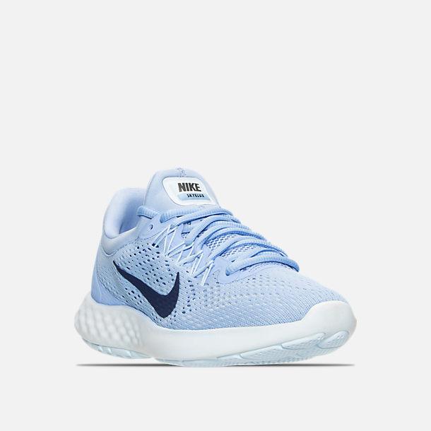 05bb391d98f Three Quarter view of Women s Nike Lunar Skyelux Running Shoes in  Aluminum Binary Blue